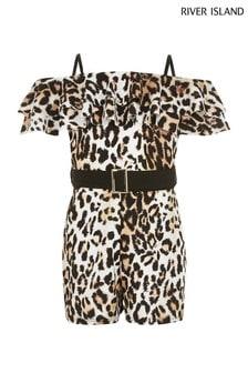 River Island Brown Leopard Maisie Playsuit