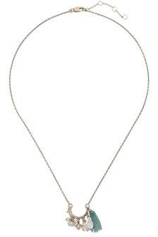 Oliver Bonas Shabina Multi Bead & Chain Tassel Necklace