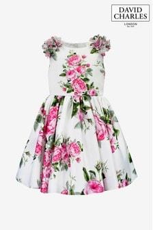 Satynowa sukienka wyjściowa David Charles w kwiaty