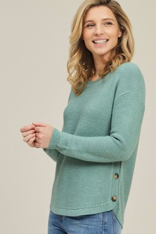 FatFace Green Emmy Button Jumper