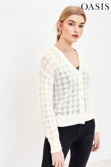 Oasis White Pointelle Fluffy Cardigan