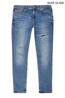 River Island Blue Medium Henderson Ripped Skinny Jeans