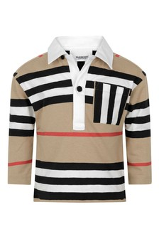 Baby Boys Beige Icon Stripe Cotton Poloshirt