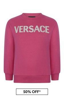 Girls Fuchsia Cotton Logo Sweater