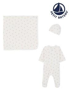 Petit Bateau White Bird Sleepsuit, Blanket And Hat Set