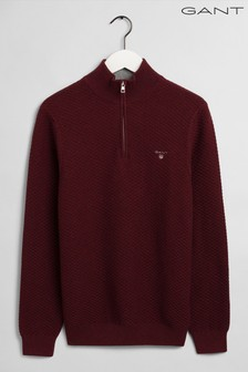 GANT Red Triangle Texture Half Zip Jumper