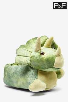 F&F Green Dinosaur Slippers