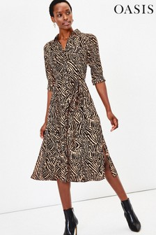 Oasis Animal Colby Shirt Dress