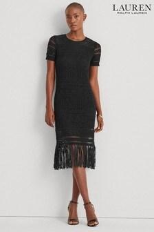 Lauren Ralph Lauren Black Crochet Chiraco Dress