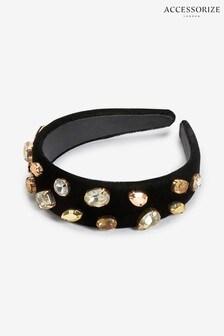 Accessorize Black Gold Jewelled Aliceband