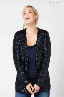 Live Unlimited Navy Edge To Edge Sequin Throw On Jacket