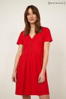 Warehouse Red Pique V-Neck Dress