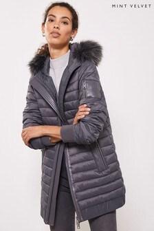 Mint Velvet Grey Hooded Padded Parka Coat