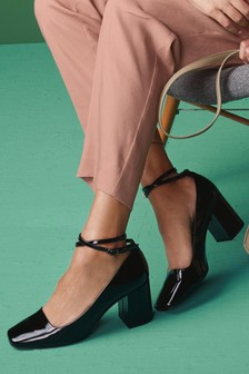 Ankle Strap Square Toe Court Shoes