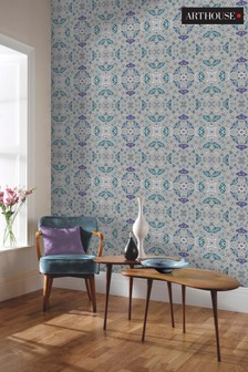 Arthouse Silver Glitter Bug Wallpaper