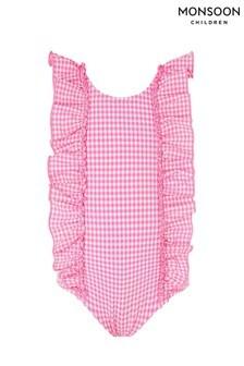 Monsoon Pink Baby Geri Gingham Ruffle Swimsuit