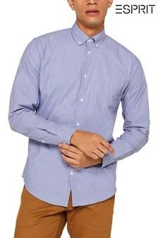 Esprit - Blauw overhemd met contrasterende strepen