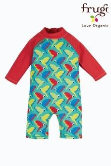 Frugi Sun Safe Suit UPF 50+ Teal Parrots