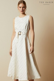 Ted Baker Cream Caryla Spotted A-Line Midi Dress