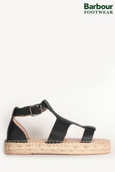 Barbour® Black Leather Lucille Espadrille Sandals