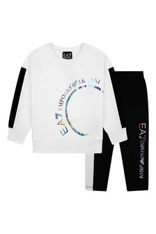Girls White/Black Cotton Logo Tracksuit