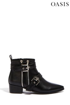 Oasis Black Kelly Double Buckle Boots