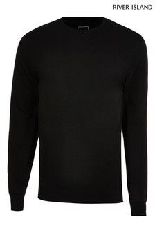 River Island Black Slim Long Sleeve Stepped Hem Cuff T-Shirt