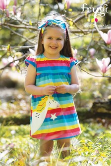 Frugi GOTS Jersey Rainbow Dress With A Unicorn Appliqué