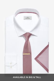 Shirt, Tie And Tie Clip With Pocket Square Set