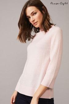 Phase Eight Pink Addie Merino Funnel Neck Knit Top