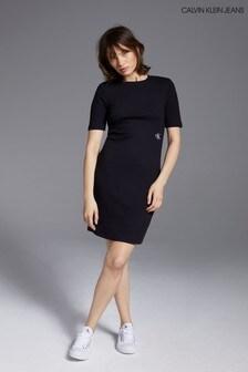 Calvin Klein Jeans Black Slub Rib Dress