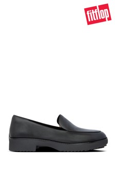 FitFlop™ Black Talia Leather Loafers