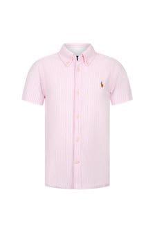 Ralph Lauren Kids Boys Pink Cotton Shirt