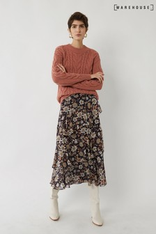 Warehouse Winter Daisy Midi Tiered Skirt