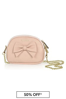 Girls Pink Leather Shoulder Bag