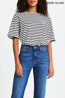 River Island Navy Stripe Raglan Boxy T-Shirt