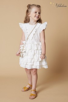 Velveteen White Geena Frill Party Dress