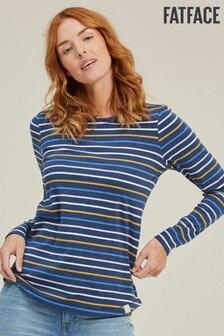 FatFace Blue Organic Cotton Multi Breton T-Shirt