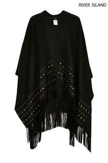 River Island Black Studded Fringe Cape