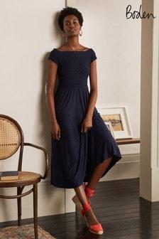 Boden Blue Angelica Smocked Midi Dress