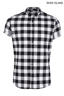 River Island Black Mono Buffalo Check Shirt