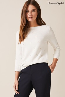 Phase Eight Cream Mia Multi Ball Detail Knit Jumper