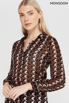 Monsoon Black Holly Horse Print Shirt