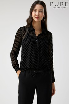 Pure Collection Black Velvet Devoré Shirt
