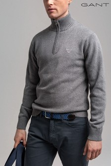 GANT Grey Casual Cotton Half Zip Jumper