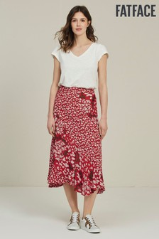 FatFace Red Naomi Daisy Breeze Midi Skirt