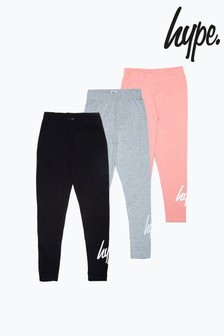 Hype Black/Grey/Pink 3 Pack Kids Leggings