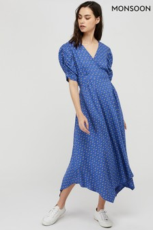 Monsoon Blue Rhiannon Print Hanky Hem Dress