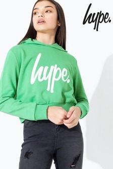 Hype. Green/White Script Kids Crop Hoody