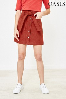 Oasis Brown Faux Suede Utility Skirt